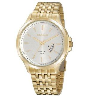Relógio Masculino Dourado c/ Calendário Seculus 20960GPSVDA3