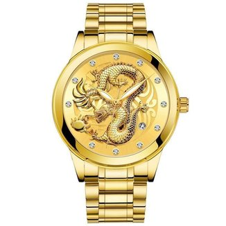 Relógio Masculino Dragon 2352 Aço Inox Data
