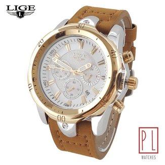 Relógio Masculino Lige 9862 Original Pulseira de Couro 100% Funcional