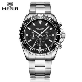 Relógio Masculino Megir 2064 Preto/Prata Original Aço Inox Analógio Todo Funcional