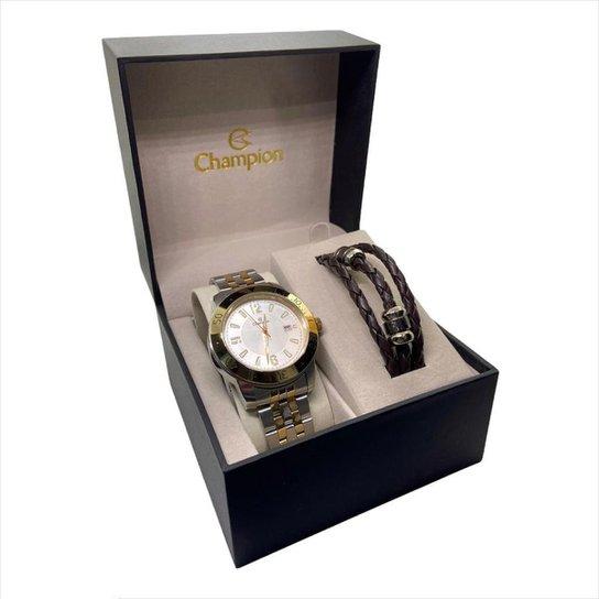 Relógio masculino Prata dourado branco Champion CA30169I - Prata+Dourado