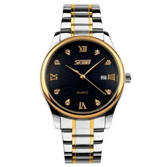 Relógio Masculino Skmei 9101 Preto, Dourado e Prata