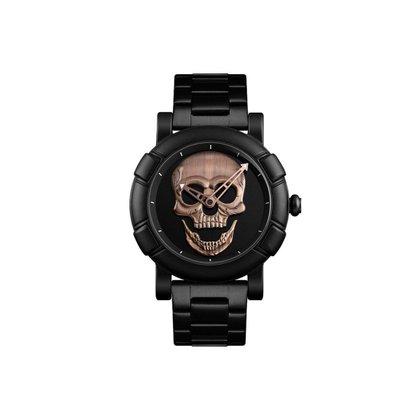 Relógio Mayon MN9178 Caveira Rosê Quartzo Suiço 55mm