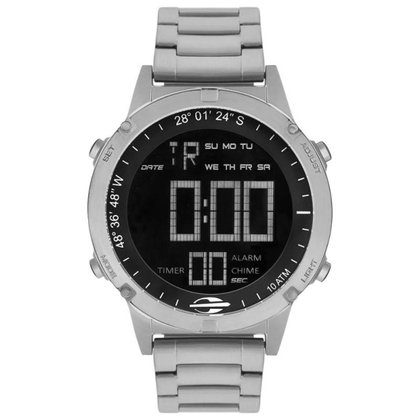 Relógio Mormaii Digital Pro MOW139011P Prata Metal