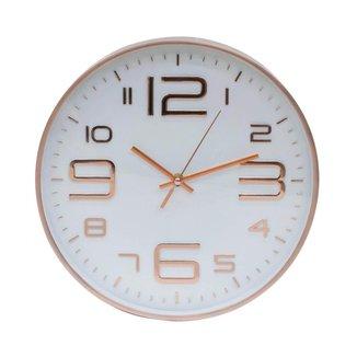 Relógio Parede Rosê Branco 29.5x29.5cm