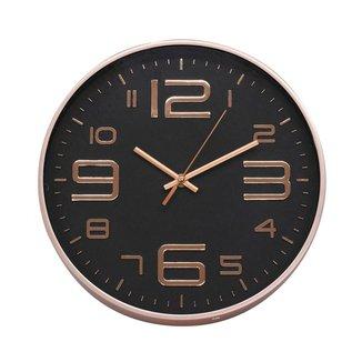 Relógio Parede Rosê Preto 29.5x29.5cm