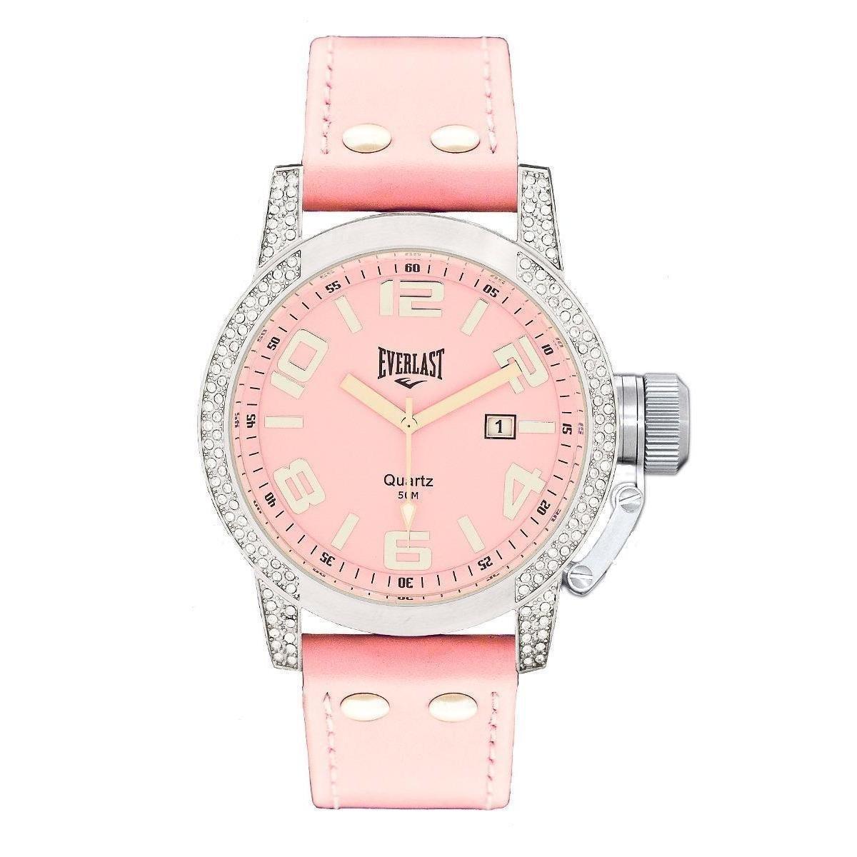 b9081bab7af Relógio Pulso Everlast Com Pulseira Em Couro E064 Feminino - Rosa - Compre  Agora