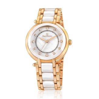 Relógio Pulso Jean Vernier Aço e Cerâmica Feminino JV01004