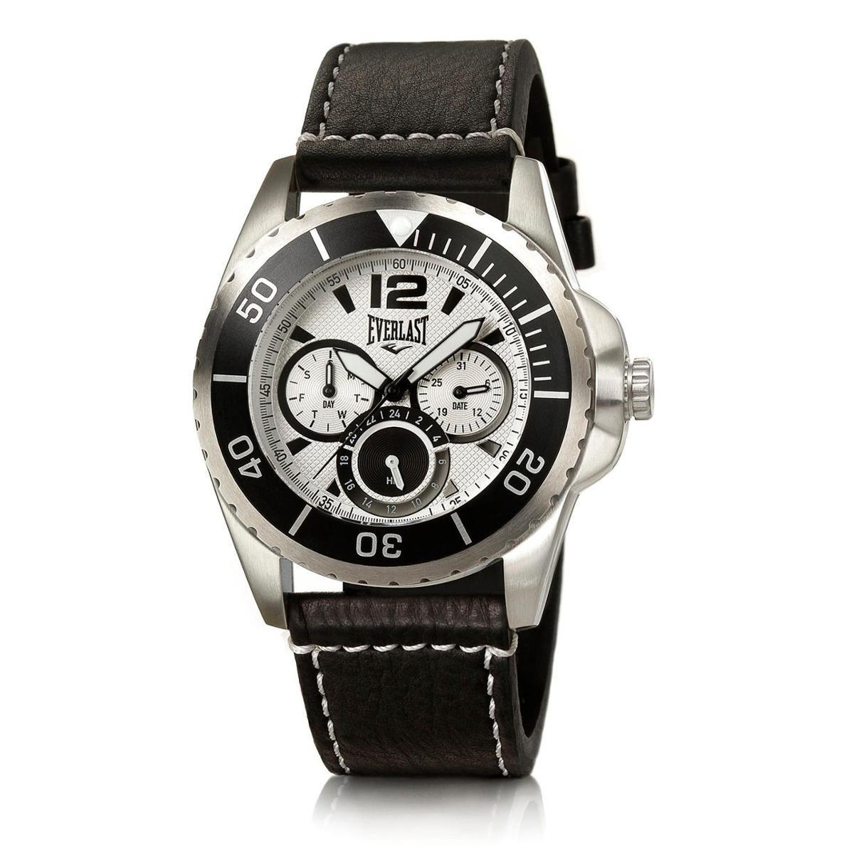 5cd9940b251 Relógio Pulso Masculino Everlast Pulseira Couro Cronógrafo - Preto e Branco  - Compre Agora