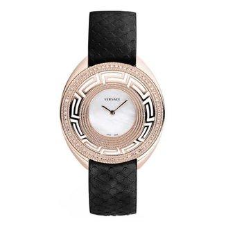 Relógio Pulso Versace Feminino Couro Diamantes 0,49Ct Casual