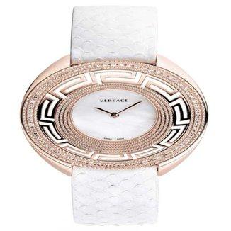 Relógio Pulso Versace Feminino Diamantes 0,49Ct Couro Casual