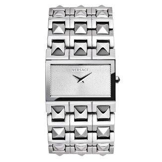 Relógio Pulso Versace Pulseira Aço Inoxidável Cristal Casual