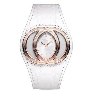 Relógio Pulso Versace Pulseira Couro Diamantes 0,02ct Casual