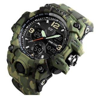 Relógio Skmei 1155 Verde Camuflado  Analógico e Digital Masculino