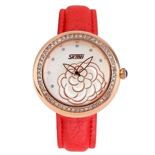 Relógio Skmei Analógico 9087 - Vermelho+Dourado