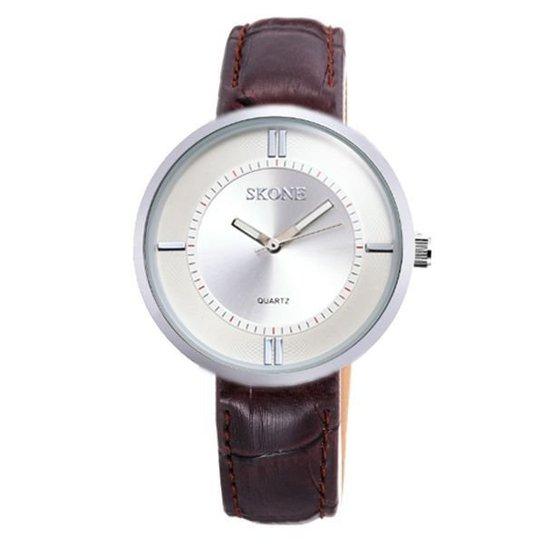Relógio Skone Analógico 9100 - Marrom