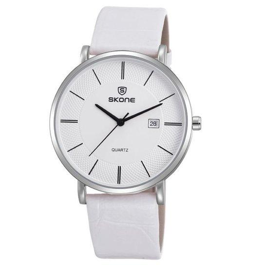 Relógio Skone Analógico 9307BG - Branco