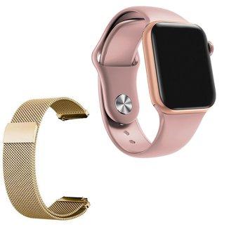 Relógio Smartwatch IWO 7 Watch 5 Android iOS + 1 Pulseira Extra de Aço Dourado