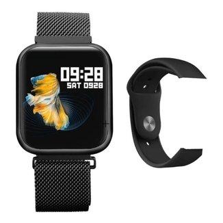 Relógio Smartwatch P70 Pulseira Milanese + Pulseira Extra Preto