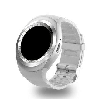 Relogio SmartWatch Y1 Bluetooth Camera Celular Chip Cartao Musica Android E Ios -