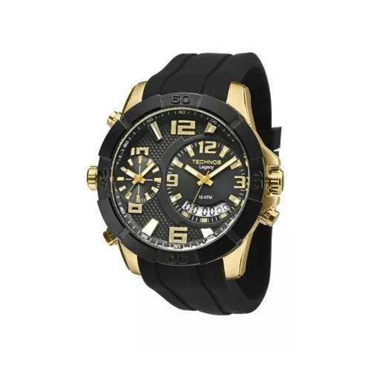 c2ba85526ef Relógio Technos Legacy Dual Time T205FJ 8P 52mm Silicone - Preto - Compre  Agora