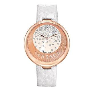 Relógio Versace Safira 90 Diamantes Pulseira Couro Casual
