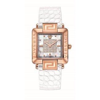 Relógio Versace Safira Diamante 0,35ct Pulseira Couro Casual
