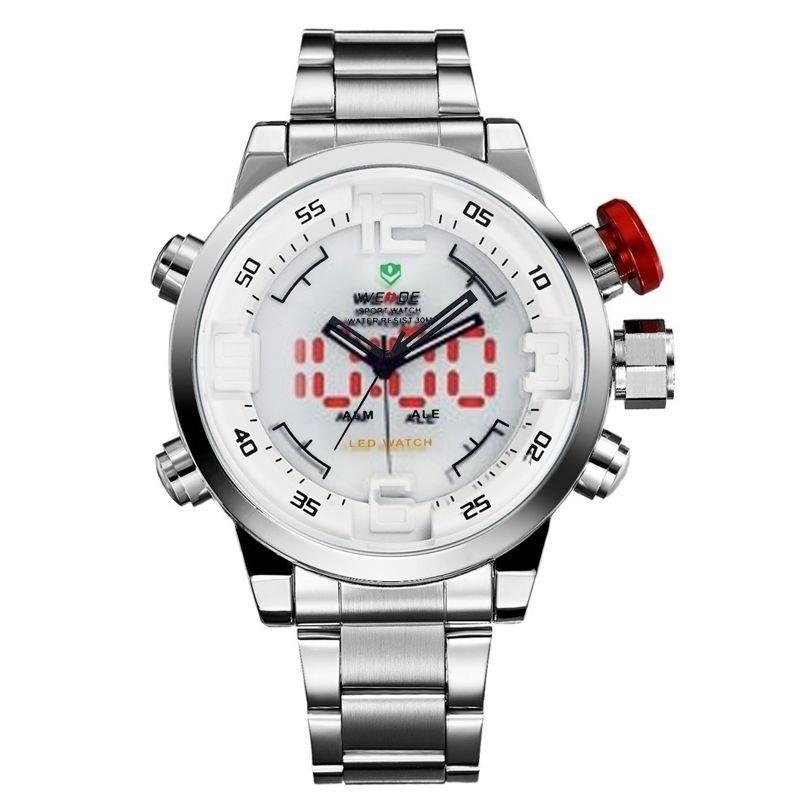 40d032ab928 Relógio Weide Anadigi WH-2309B - Branco e prata - Compre Agora ...