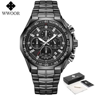 Relógio WWOOR 8868 em aço inoxidável