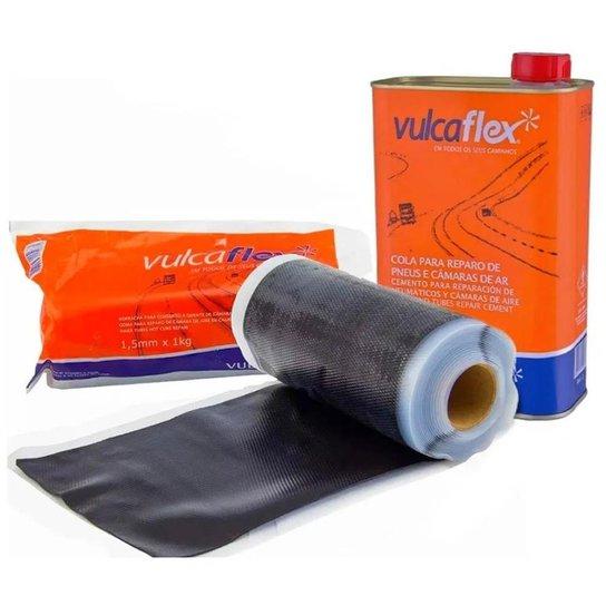 Remendo Quente Vulcanite + Cola Preta - Kit Vulcaflex - Preto