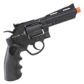 Revolver de Airsoft CO2 QGK TITAN 4 BK Full Metal Preto 385 FPS - QGK