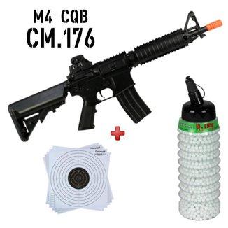 Rifle Airsoft Elétrico Cyma CM176 + BBs Bb King 0.12g 2300 + Alvo papel 14x14
