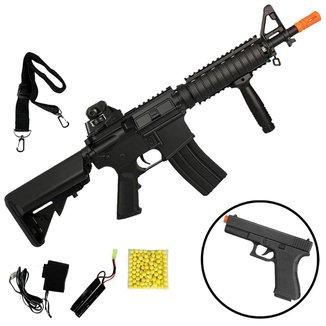 Rifle Airsoft Elétrico Cyma M4 CQB CM.176 + Pistola