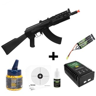 Rifle Airsoft Elétrico QGK 47 Sierra Ris Polímero 6 mm + 1.000 Bbs + Óleo De Silicone + Alvo de Pape