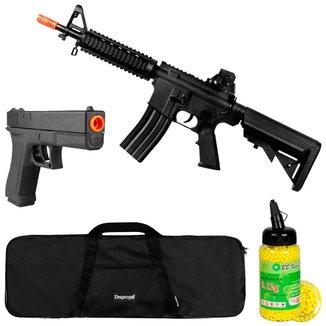 Rifle Airsoft Spring Vigor M4 CQB + Pistola + Capa Simples 90x30 + BB King 0.12g 2000