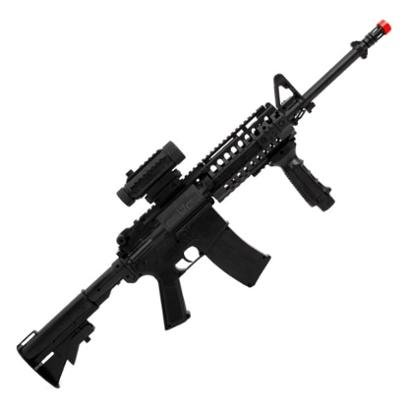 Rifle de Airsoft Elétrico AEG Colt M4A1 RIS Black Com Lanterna e Red Dot Fake Cybergun - Unissex