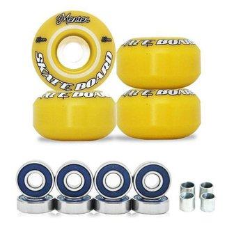 Rodas Para Skate Mentex 53mm Amarela Dureza 95a Com Rolamentos ABEC 3 Com Espaçadores