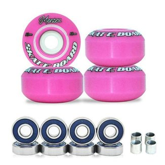 Rodas Para Skate Mentex 53mm Rosa Dureza 95a Com Rolamentos ABEC 3 Com Espaçadores
