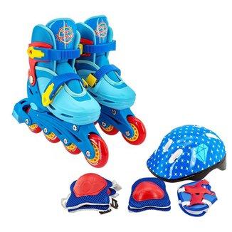 Roller Patins Infantil Ajustavel 30-33 + Kit de Proteção