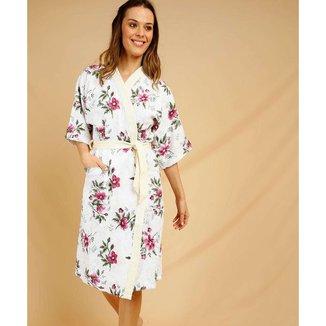 Roupão Feminino Quimono Felpudo Floral Treliça Lepper - 10047004122