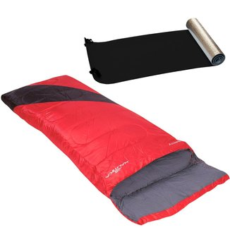 Saco de Dormir Liberty Preto e Vermelho + Isolante Térmico Nautika