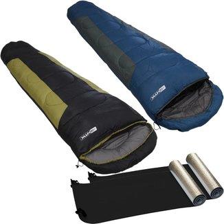 Saco De Dormir Mummy 2 Unidades + Isolante Térmico Aluminizado 2 Unidades  Nautika