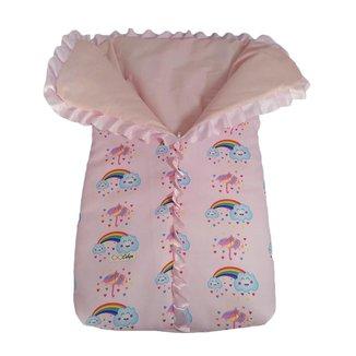 Saco de dormir para bebê com zíper estampa chuva de benção
