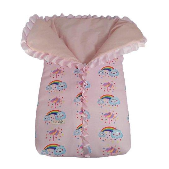 Saco de dormir para bebê com zíper estampa chuva de benção - Rosa