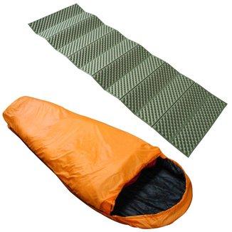 Saco De Dormir Tipo Sarcófago Nautika + Isolante Térmico Thor Dobrável Azteq