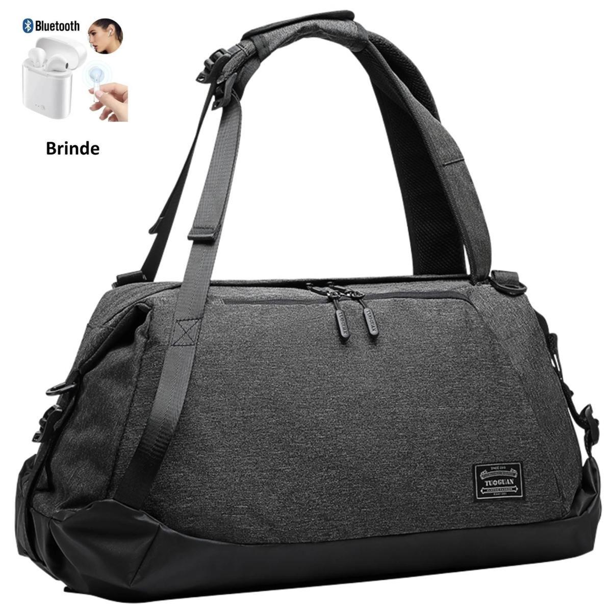 Sacola Mochila Fitness Academia Viagem Fashion Preta + Brinde Fone Bluetooth i12 -