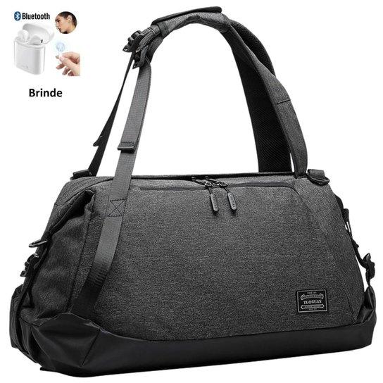 Sacola Mochila Fitness Academia Viagem Fashion Preta  + Brinde Fone Bluetooth i12 - Preto