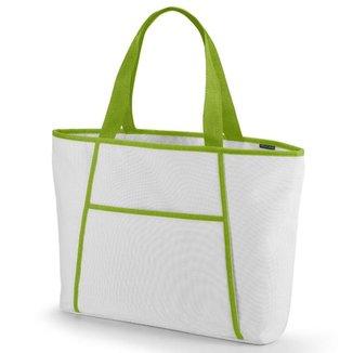 Sacola Térmica Média com Ziper TopGet - Branco e Verde Claro