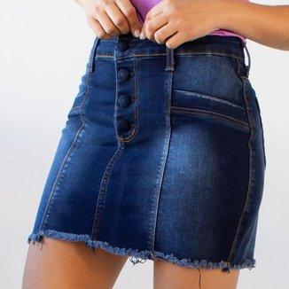 Saia Curta Feminina Jeans Escuro Strech Botão Anticorpus