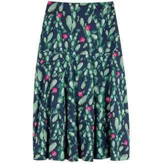 Saia Feminina Enfim Midi Viscose Estampa Floral  Verde P